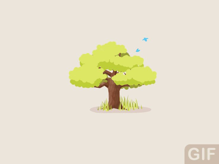 2d animated vector gifs - motion design loops Shot_tree_of_seasons_01 Dribble.com