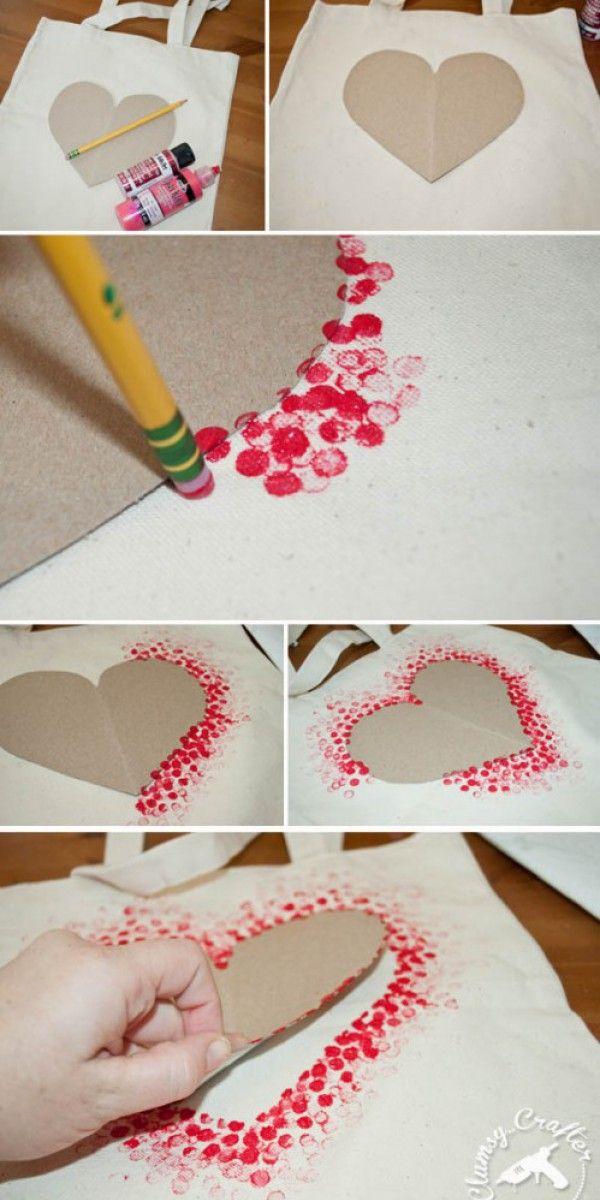 Schöne Idee auch für eine Valentinskarte mit dem Radiergummi eines Bleistiftes in Rote Farbe tunken und dann um eine Herzform stempeln - auch gut auf T-Shirts oder Leinwand