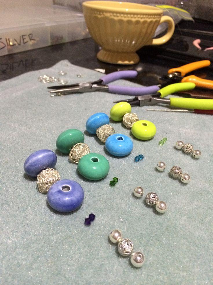 Adding swarovski bicones and silver balls to a design #design #unique #create #make #GGJewellery