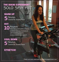 A Solo Spin HIIT Workout! Workouts at the gym never looked like so much fun. Prepare to get sweaty with this fast, effective routine using the spin bike.
