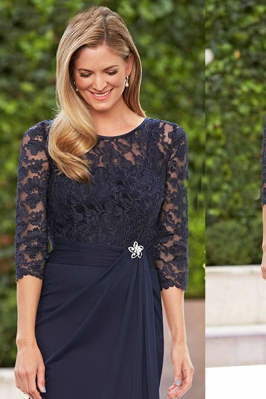 Navy Blue Lace Shalf Sleeves Chiffon Short Mother of the Bride Dresses Formal Party Bridal Dresses OK218