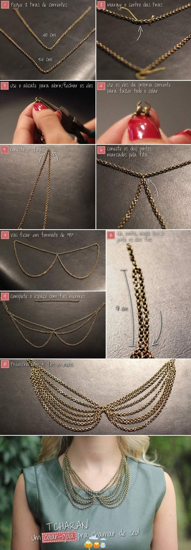 DIY Peter Pan collar necklace with chains     #diy #crafts #jewelry