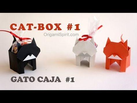 Un gato en origami que también es una caja. (Versión 1 de 2)