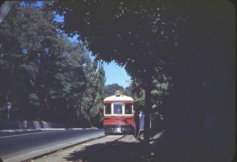A TTC streetcar travelling along Yonge Street in Thornhill, circa 1948