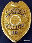 NEWPORT BEACH, CALIFORNIA POLICE CLERK BADGE FOR SALE