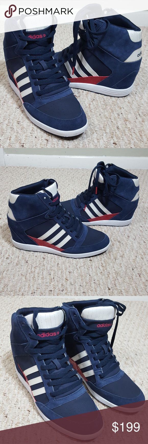 Adidas NEO Label Wedge Excellent Condition  Never worn outside. Super High Wedge  Blues with trade mark 3 stripes True to size 11 womens No Box 🔶️No Trades No Modeling  Bundle and save  🔶️FIRM PRICE,  unless bundle! adidas Shoes Sneakers