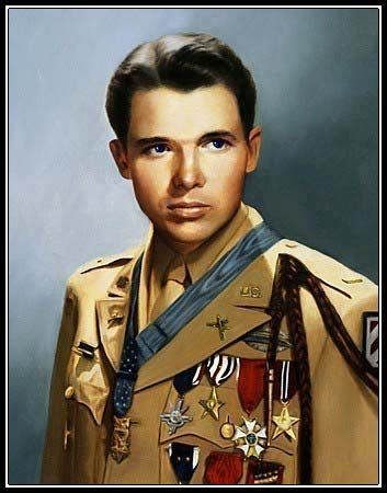 Audie Leon Murphy  -  born in a small town in Texas in 1926, 6th of 12 children: he grew up raising them for a large part of their life because his dad left them when he was around 10.  At 16 he joined the military (Army), he was underage, so had his sister forge a birth certificate for him.  He was 5'5  and 145 lbs he could kill with looks alone.  He was the most decorated soldier of WWII.