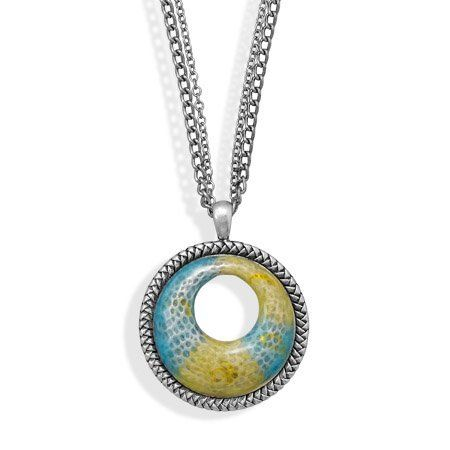 "Oxidized Enamel Fashion Necklace Silver Tone Circle with Blue and Green Silver Castle Jewelry. $22.89. 18"" + 2"" extension double strand oxidized fashion necklace with blue and green enamel open circle design pendant. Pendant is 46mm in diameter. This item contains lead free base metal."