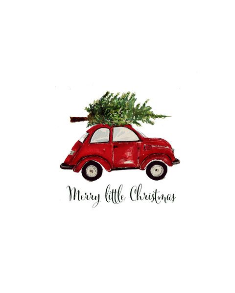 Red Christmas Beetle Art Print #christmas #noel #vw #art #red