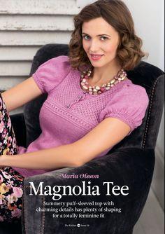 Вязание топа спицами Magnolia, The Knitter 58.