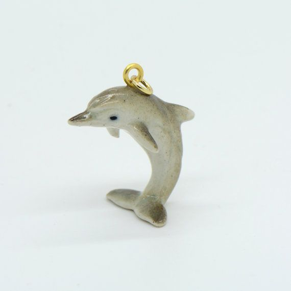[HITCHHIKER'S GUIDE]  1  Porcelain Dolphin Pendant Hand Painted by ingredientsforlovely
