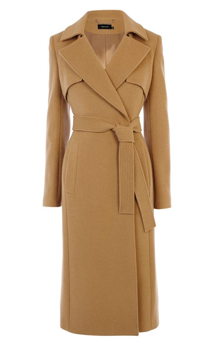 WOOL LONGLINE CAMEL TRENCHCOAT | Luxury Women's HOT_OFF_THE_PRESS | Karen Millen