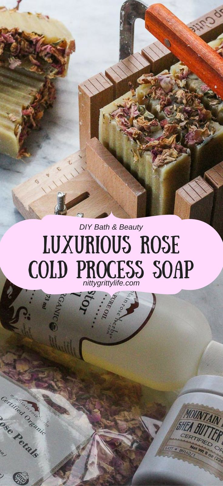 A perfect DIY project, this rose scented cold process soap recipe will result in a luxurious soap with a rich and gentle lather.