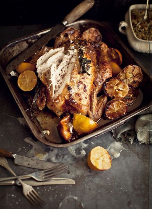 Garlic Butter Roast Chicken with Lemon, Macadamia Nut and Bacon Stuffing