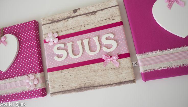Drieluik Suus in roze & fuchsia. #drieluik #meisje #kinderkamer #roze #accessoires
