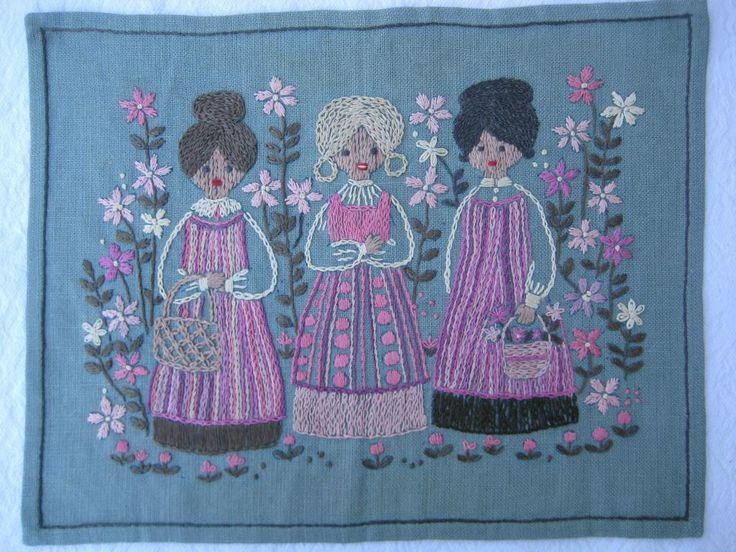Vacker broderad bonad med 3 damer Retro 60-tal på Tradera.com -