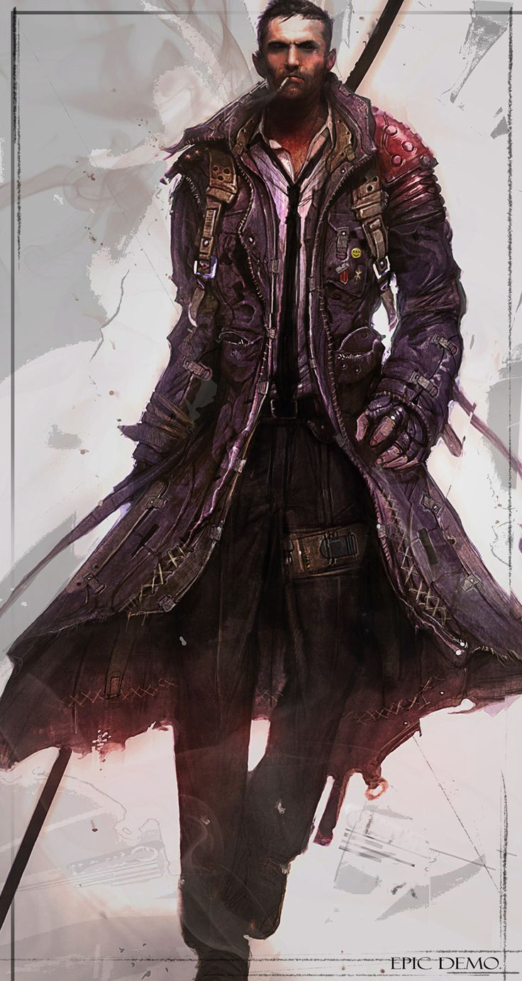 cyberpunk concept art - Google Search I like the length and flow of this jacket, but without all the wear and hardware.