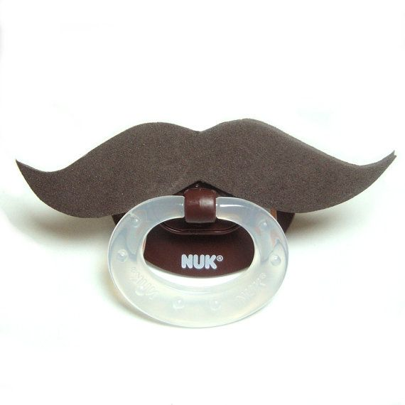 Brown Mustache football pacifier 6 to 18 months by babestograndmas, $10.00
