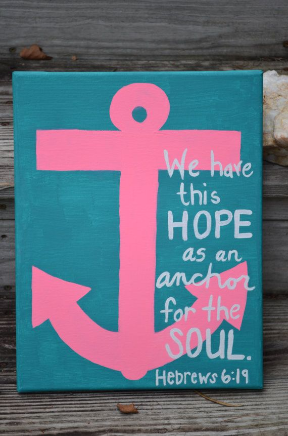 Canvas painting hebrews 6 19 anchor anchor bathroom for Bathroom canvas painting ideas