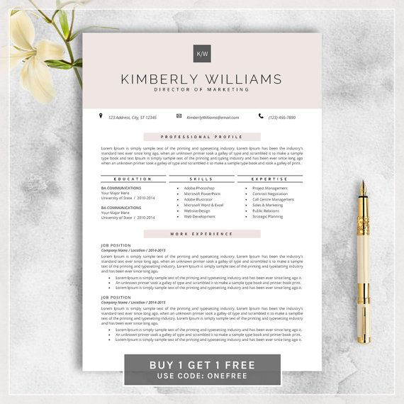 Professional Resume Template, CV Template For MS Word, Creative Resume,  Modern Design,