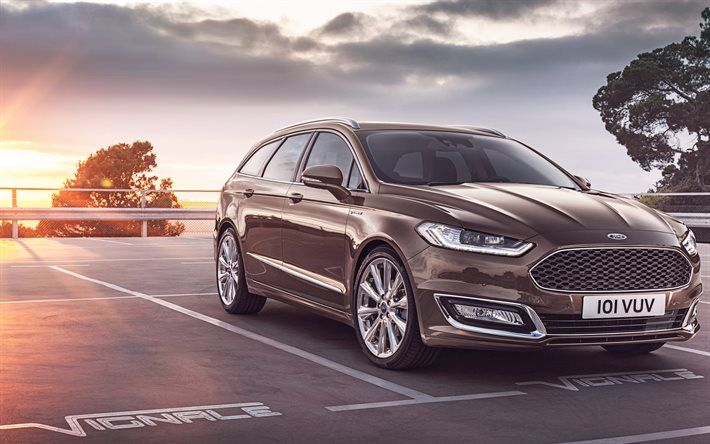 Ford Mondeo, 2016, Vignale, Turnier, wagon, American cars, brown Mondeo, Ford