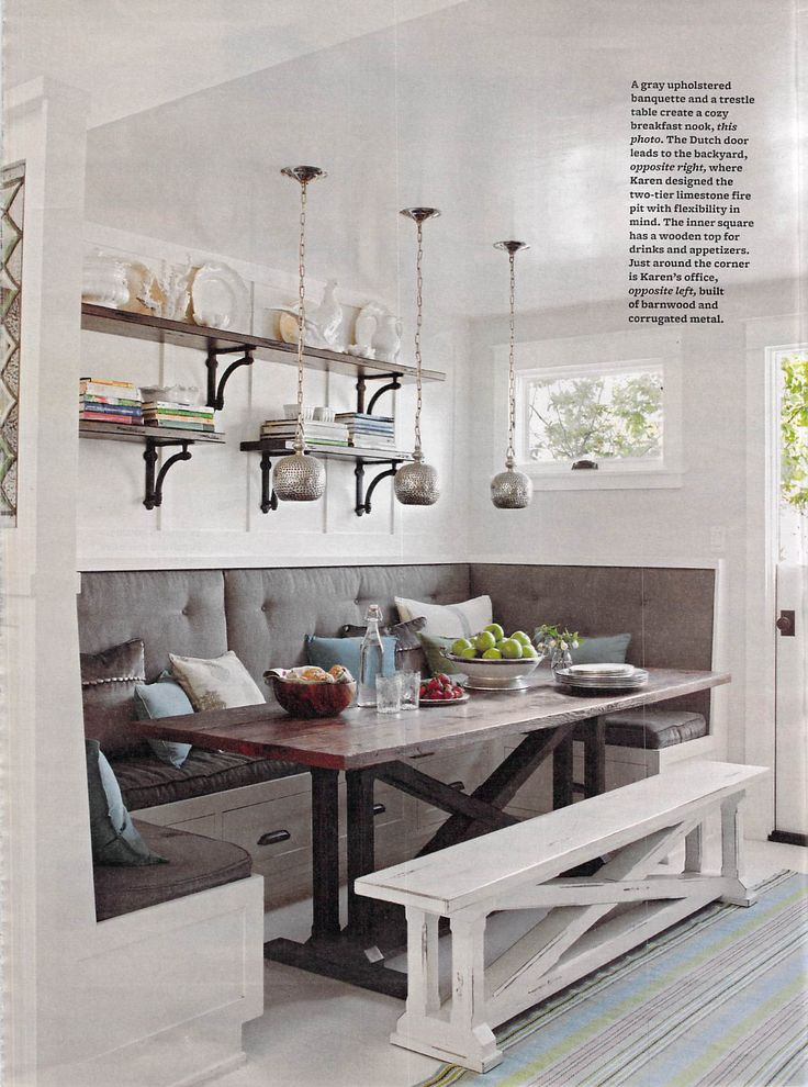White distressed Kitchen bench. Love it!