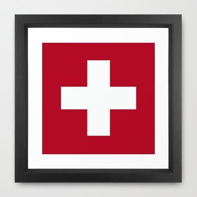 Switzerland Flag  Framed Art Print