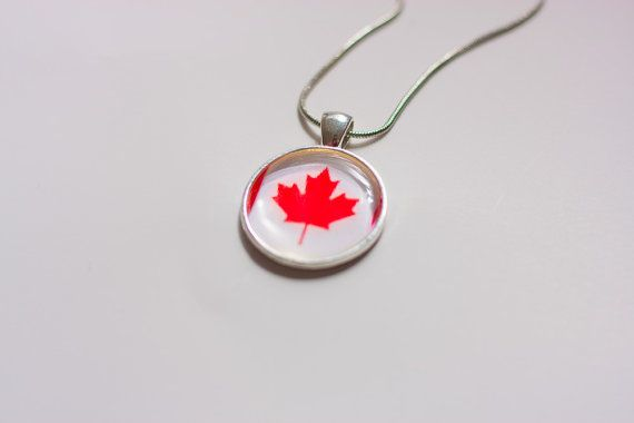 Canadian flag necklace Canadian necklace Canadian by Daario