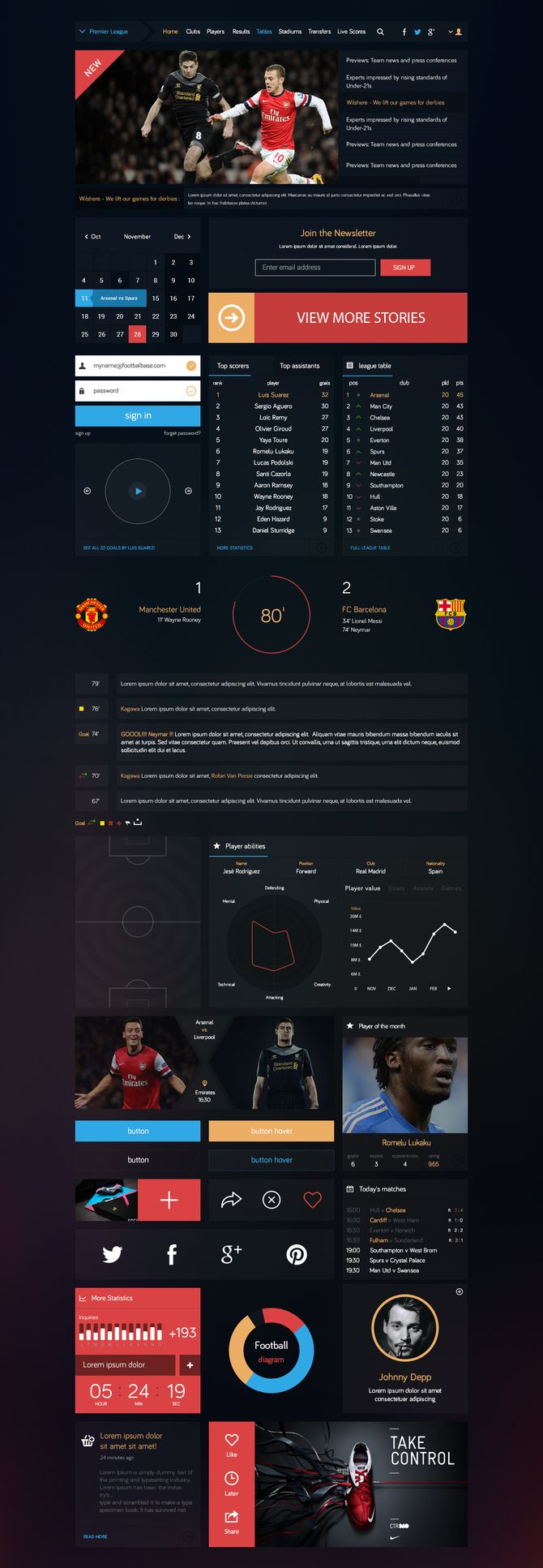 Football - Flat UI kit