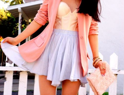 : Colors Combos, Dreams Closet, Spring Colors, Summer Style, Pastel Colors, Pastel Fashion, Spring Outfits, Corsets Tops, Pink Blazers