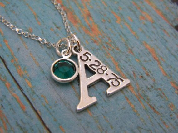 """Solid Sterling Silver Initial Letter Charm Custom Made Hand Stamped Personalized Mother Necklace with Birth Date and Birthstone (3/4"""") on Etsy, $38.00"""