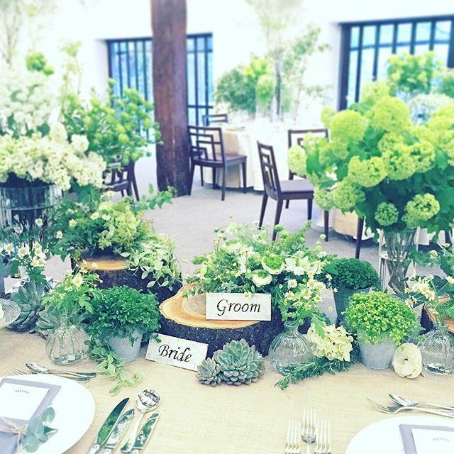 寄りで。パート2。 木の輪切りは、大工さんに切っていただきました☺︎ 急な依頼だったにも関わらず、感謝しています♡ ありがとうございました!! #ザ白梅クラシックガーデン #藏人rinsenkyo #三重県#四日市#菰野町 #amusee#アミューゼ #weddingdecoration