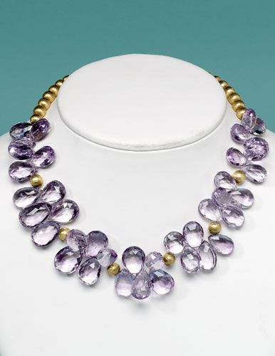 """Bunches of briolettes"" necklace downloadable project by D'Andria Rumely for Bead Style magazine. BeadStyleMag.com"