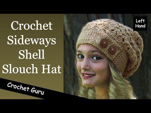 Crochet Slouchy Hat Pattern - Sideways Shell Hat Pattern - (Left Hand)