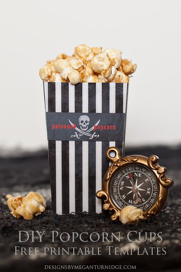 DIY Popcorn Cups - FREE printable and Photoshop templates so you can create your own popcorn cups for any occasion or party theme! From Megan Turnidge