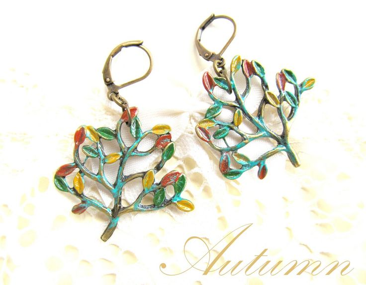 Verdigris patina on bronze trees-Autumn earrings (34 LEI la afterforever.breslo.ro)