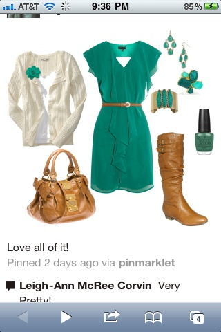 (;: Colors Combos, Day Outfit, Fashionista Trends, Colors Schemes, Fall Outfit, Cute Outfit, The Dresses, Boots, Green Dresses