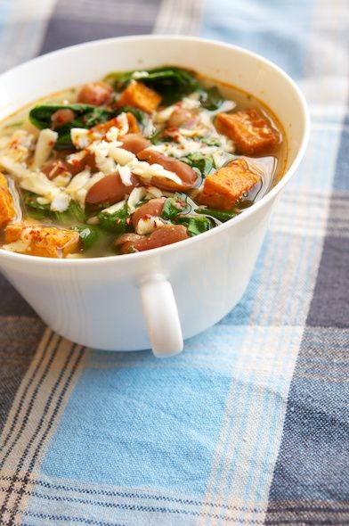 Spinach, Bean And Spicy Tofu Soup - Vegan