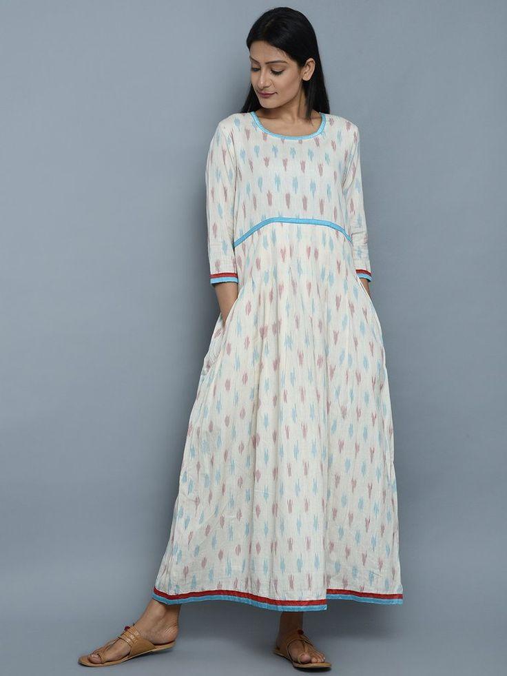 White Ikat Cotton Maxi Dress. Eerbare kleding. Eng. Modest clothing. Fr. Vêtement modeste. Du. Bescheidene Kleidung. Sp. ropa modesta. Ru. Скромная одежда.