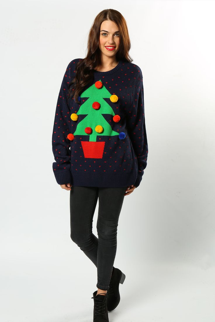 This fun Christmas tree jumper add a whole new dimension to the festive period with 10 pompom baubles decorating the tree!  The perfect gift to put under your Christmas tree #Christmas #ChristmasTree #FestiveWear #ChristmasJumpers #Novelty #Fun #Wholesaler #NationalChristmasJumperDay #TheChristmasJumperGrotto #AdultClothing #MensFashion #WomansFashion