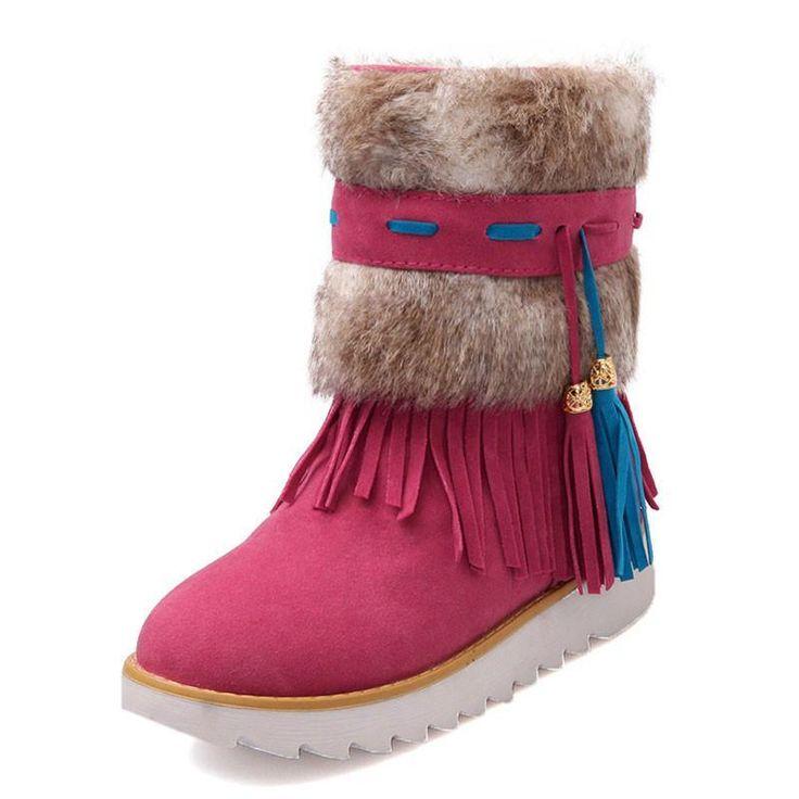 flat Heel Black Ankle Women tassel Boots Shoes Beaded Plush Suede Nubuck