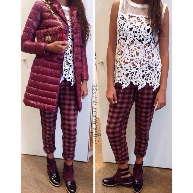 Pantaloni tartan, maglia in pizzo, stivaletti con fibbie e Herno bordeaux | Glamour in Rose [Milano, via Solferino 12 - Forte dei Marmi, via Roma 4/6 - www.glamourinrose.com- Instagram: @glamourinrose]