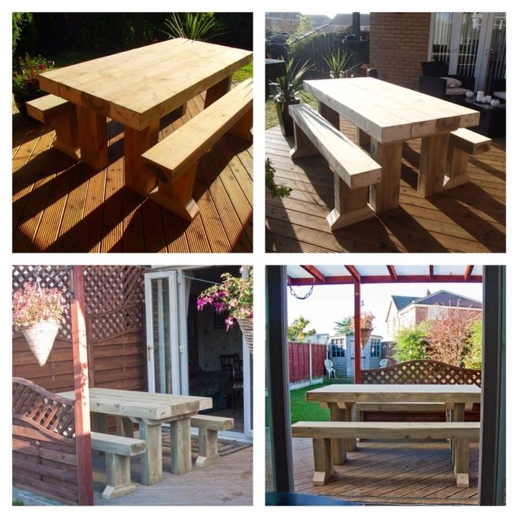 SANDED Solid Wooden Sleeper Outside Or Inside Table And Benches Garden Furniture