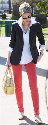 Angie's classic style with blazer and cigarette pants.