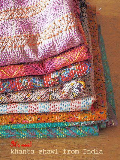 Silk needlework shawl Kanta of