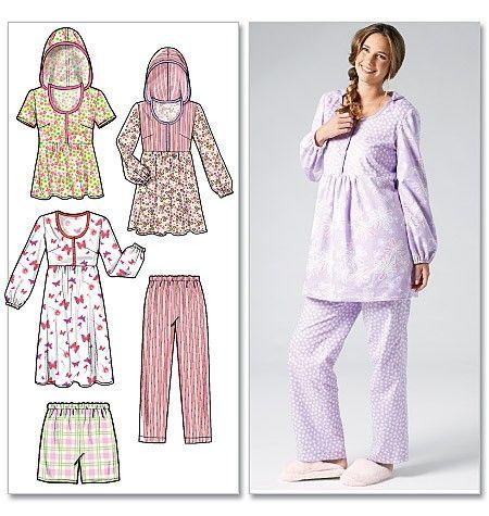 McCall's - M6472 Huiskleding voor dames, top, nachtjapon, shorts en broek   Naaipatronen.nl   zelfmaakmode patroon online