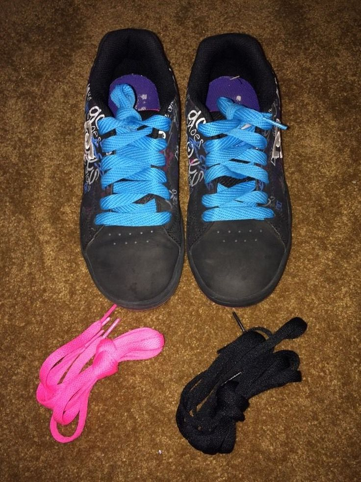 DC Shoe Co USA Girls Size 5 Good Condition Black, W/Black, Pink, and Blue Laces #DCShoes #Everyday