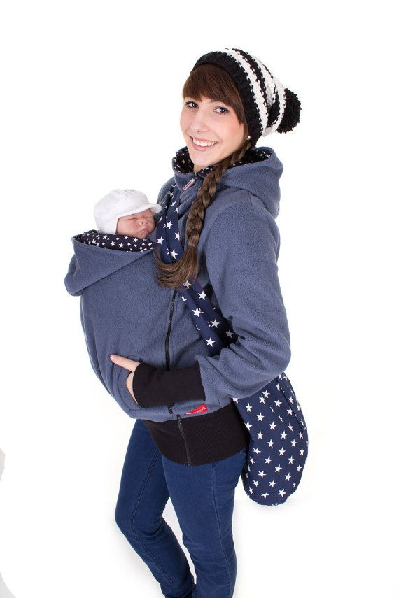 Viva la Mama | Baby Carrying Jacket TRIO (3in1- greyish blue/navy with stars). Hoody for pregnancy, maternity, baby wearing and everyday use. No worries about the blanket not covering toes or fingers! :) #maternityfashion