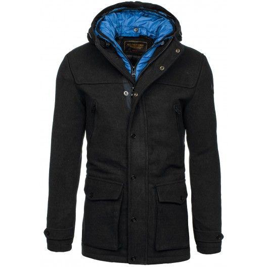 Pánske kabáty s kapucňou čiernej farby - fashionday.eu
