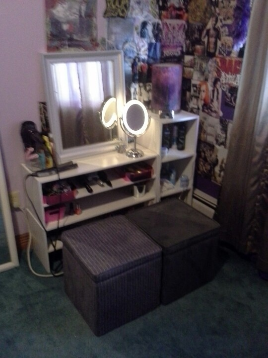 DIY vanity with storage. Room Essentials ottomans & closet maid shelving  that cost around 60 - Room Essentials Storage Ottoman House PR